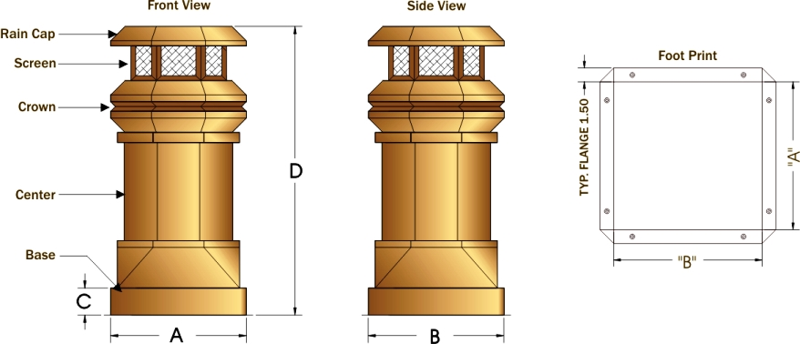 Tudor Chimney Pot Schematic Drawing