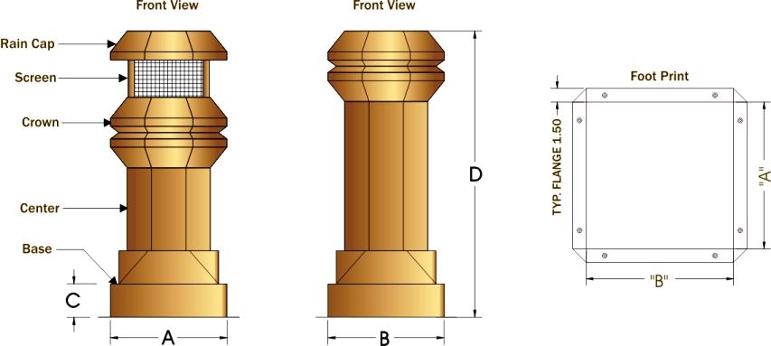 Volko Supply Windsor Copper Chimney Pots